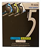 Wrigleys 5 Sugarfree Gum 15 Pack Mint Variety Box - 15 Packs of 15 Pieces (225 Pieces Total)