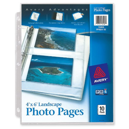 Avery Horizontal Photo Pages, Acid Free, 4 x 6 Inches, Pack of 10 (13406) (2 Pocket Sheet Protectors compare prices)