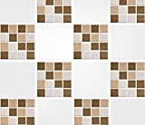 """Pack of 10 4"""" x 4"""" Brown Mosaic Tile Transfer Stickers Bathroom Kitchen DIY Home Improvements"""