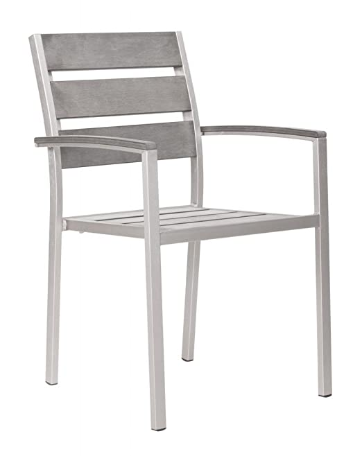 Modern Outdoor Dining Arm Chair, Silver Brushed Aluminum (set of two)