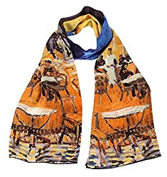 Olina Women's High-Grade Elegant 100% Luxury Long Silk Scarf (Van Gogh - Cafe Terrace at Night)