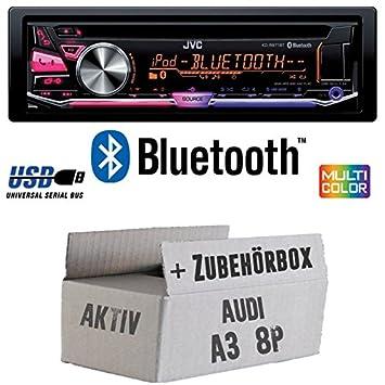 Audi A3 8P AKTIV - JVC KD-R971BT - Bluetooth CD/MP3/USB MultiColor Autoradio - Einbauset