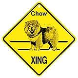 Chow XING サインボード:チャウ 横断 注意 英語 看板 Made in U.S.A [並行輸入品]