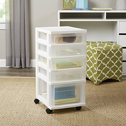 4 Shallow and 1 Deep Drawer Chest Storage Container Organizer Bin with Wheel (Wooden Cabinet On Wheels compare prices)