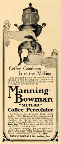 1907 Ad Manning Bowman Meteor Coffee Percolator Maker - Original Print Ad