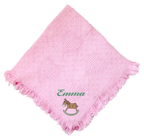 Rocking Horse Pink 100% Cotton Custom Embroidered Personalized Baby Blanket Navy Thread front-967136