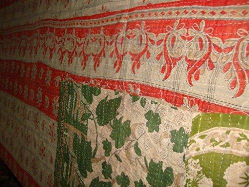 Manta de funda de edredón Kantha indio Vintage hecho a mano de flores de Colcha Reversible algodón Ethnic Sari tela bordado manta Gudari ropa de cama