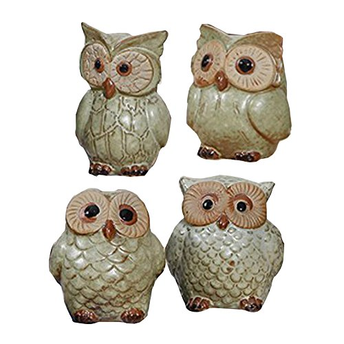 WOMHOPE® 4 Pcs - Mini House Warming Gift Wise Owls Figurine Tabletop Shelf Ceramic Wise Home Decorative Collectible Figurine Statues (Green (Bigger))