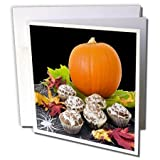 Sandy Mertens Halloween Food Designs - Pumpkin and Cupcakes - 12 Greeting Cards with envelopes (gc_6023_2)