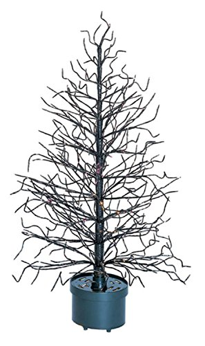 3' Black Fiber Optic Lighted Twig Christmas Tree