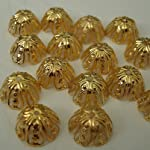 BeadsTreasure 100pcs -Bright Gold Plated Bead Caps 11mm Jewelry Making Supply.