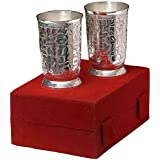 Jaipur Ace Silver Plated Brass Water Glasses Set Of 2 Pieces (Abs00007 )