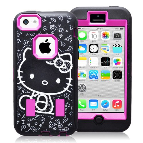 Kuteck® Black Hello Kitty Printed Hard Soft High Impact Hybrid Armor Defender Case Combo Built-In Screen Protector For Apple Iphone 5C (Kitty Hot Pink)