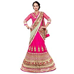 Suchi Fashion Magenta Net Embroidered Circular Lehenga Choli