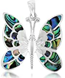 Silver Pave Shell Butterfly Pendant