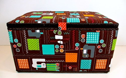 St.Jane Sewing Basket,XL,brown with Sewing Machines,cloth,buttons & Stitches Pattern,plastic Compartment Shelf,handle,15.2