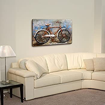 Asmork 3D Metal Art - 100% Handmade Metal Unique Wall Art - Stereograph Oil Painting - Home Decor - Ready to Hang Sculpture Artwork (Bicycle (30 x 20 inch))