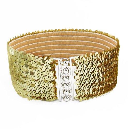 Women Interlock Buckle Gold Tone Sequin Detail Elastic Cinch Belt