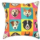 YOUR SMILE Dog Family Cotton Linen Square Decorative Throw Pillow Case Cushion Cover 18x18 Inch(44CM*44CM) (Color#208)