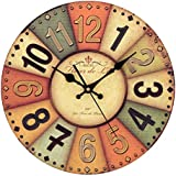 YESURPRISE Pendule Murale en Bois MDF Rond Horloge DIY Vintage Décoration de la maison HOTEL