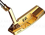 軟鉄 鍛造 削り出し 生鉄 フォージド ディープ ミルド フェース パター NT-002 (純金メッキ, 33)