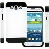 TPU Silikon Strass Glitzer Hülle Hüllen Schutzhülle Tasche Etui Protection Case Protective Cover für Samsung Galaxy S3 S III I9300 I9305 Weiß+Schwarz