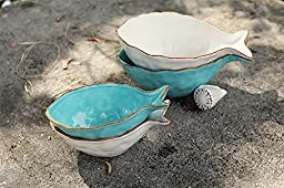 Dolomite Fish Shaped Bowl SET OF 2 Colors Blue White Finishes Country Lake Home Nautical D