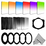 Complete Square Filter Kit Compatible with Cokin P Series - Includes: Graduated Color Green Yellow Purple Orange Pink Brown Blue and Red Filters + Graduated ND2 ND4 ND8 and Full ND2 ND4 ND8 Filters + 52 55 58 62 67 72 77MM Adapter Rings + 2 Filter Holder + 2 Lens Hood + Premium MagicFiber Microfiber Cleaning Cloth