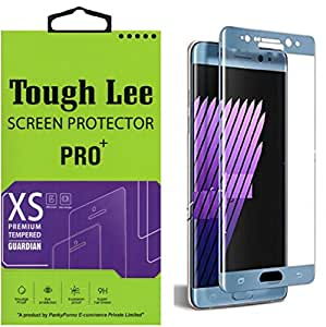 Tough Lee Silicone Coated Full Curve (Perfect Fit) (Blue Colour) Tempered Glass for Samsung Galaxy Note 7 - Blue Colour