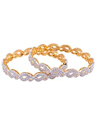 TKD Jewellers White Color Traditional Wear Gold Plated CZ Stones Bangle Set For Women (TKDJ069)