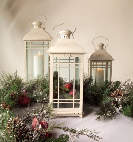 Set of 3 Off-White Almond Multi-Sized Mission-Style Pillar Candle Lanterns