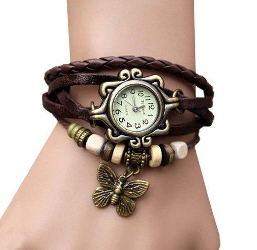 Amtonseeshop Newly Fashion Brown Retro Nice Lady Woman Girl Quartz Fashion Weave Around Leather Bracelet Wrist Watch