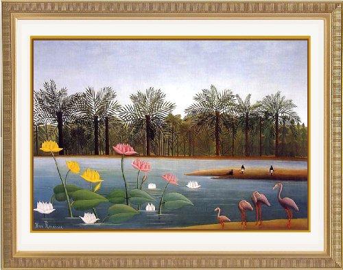 ルソー 「フラミンゴ」 オリジナルアートポスター額 高画質 ジグリー刷 ゴールド額装 61x50cm