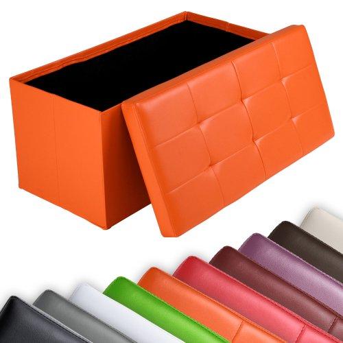 miadomodo Sgabello contenitore pouf cassapanca poggiapiedi pieghevole imbottito 85 x 40 x 40 cm colore a scelta (Arancione)