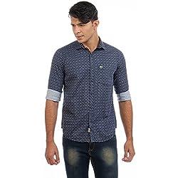 Sting Blue Printed Slim Fit Cotton Casual Shirt