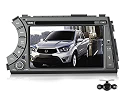 See Pumpkin 7 inch Android 4.4 Kitkat For SsangYong Actyon Sport/Kyron 2005-2012 Double Din In Dash HD Capacitive Touch Screen Car DVD Player GPS Navigation Stereo Support Bluetooth/SD/USB/Ipod/FM/AM Radio/OBD2/DVR/3G/AV-IN/1080P with Backup Camera as gift Details