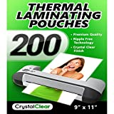 Crystal Clear Thermal Laminating Pouches - Pack of 200 Sheets (9