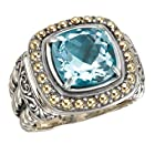 925 Silver & Blue Topaz Cushion-Cut Ring with 18k Gold Bead Accents- Size 6