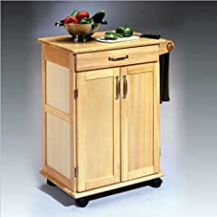 Home Styles 5040-95 Paneled Door Kitchen Cart Natural Finish