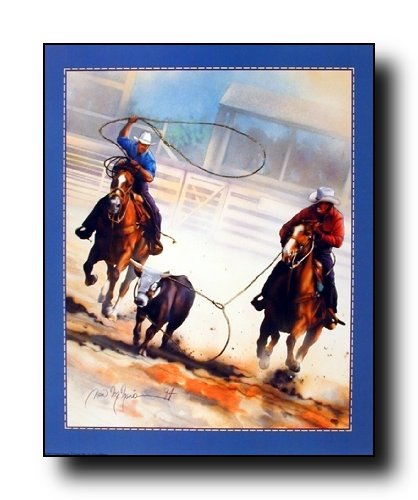 Cowboy Team Roping Western Rodeo Horse Wall Decor Picture Art Print Poster (16x20) (Vintage Rodeo Posters compare prices)