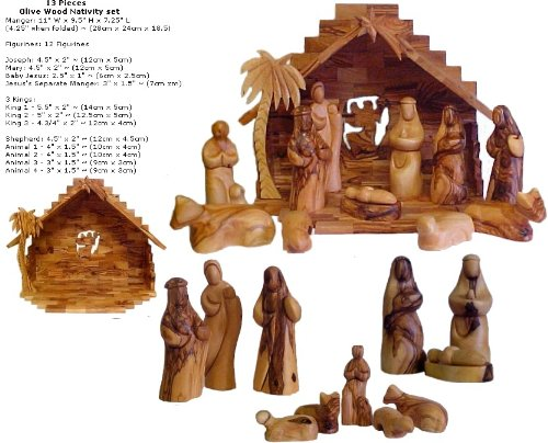 Faceless Olive Wood Nativity Set (Nativity Set Olive Wood compare prices)