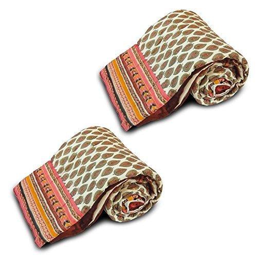Little goval India 2 piezas Juego de funda de edredón para cama individual Razai algodón blanco