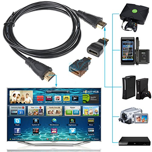 discoGoods 3 in 1 High Speed HDMI to Mini/Micro HDMI Adapter Cable for PC TV PS4 Blu X-Ray (Micro Sd To Av compare prices)