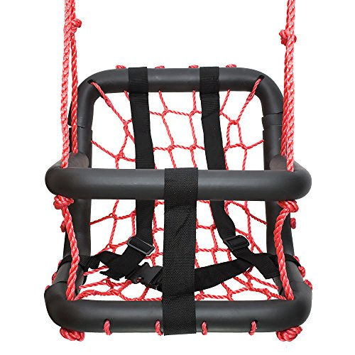 SWINGING MONKEY PRODUCTS Baby Swing, Red - Redesigned, Stylish, Nylon Rope with Padded Steel Frame (Outdoor Commercial Baby Swing compare prices)