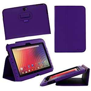 rooCASE Google Nexus 10 Ultra-Slim (Purple) Vegan Leather Folio Case Tablet with Multi Angle Stand (Built-in sleep / wake feature)