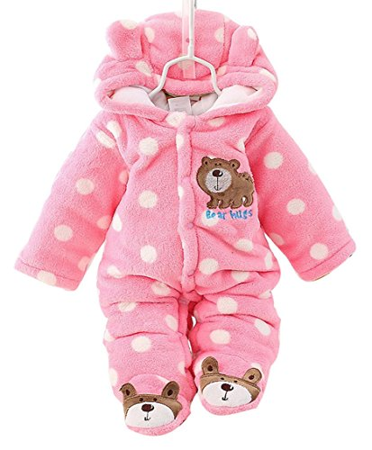 Baby Boys Girls Winter Thicken Rompers Cute Spotted Bear Footies Jumpsuit Sonwsuit Pink for 6-9M