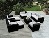 Genuine Ohana Outdoor Patio Sofa Wicker Sectional Furniture 9pc Couch Set with Free Patio Cover