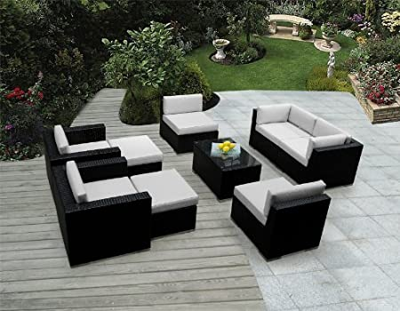 Genuine Ohana Outdoor Patio Sofa Wicker Sectional Furniture 9pc Couch