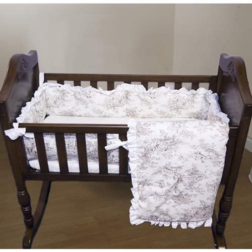 Baby Doll Bedding Toile Deluxe Cradle Set, Bone