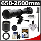 Rokinon 650-1300mm f/8-16 Telephoto Zoom Lens with 2x Teleconverter (=650-2600mm) + Monopod Kit for Pentax K-30 K-7 K-5 K-01 K-R Digital SLR Cameras